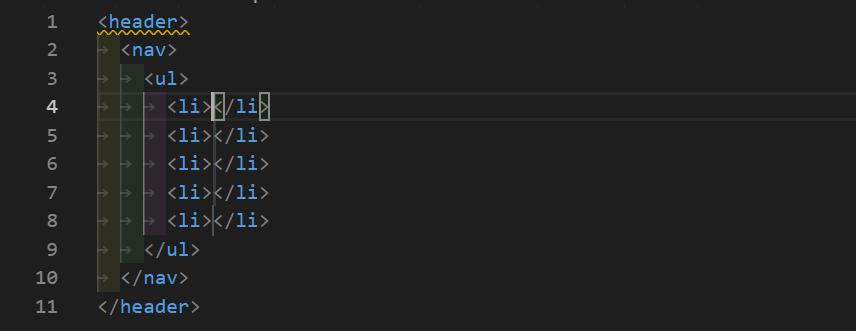 header>nav>ul>li*5の展開
